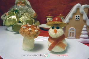 muñecos de nieve y seta del bosque