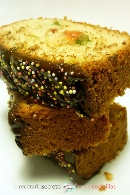 plumcake arcoiris con chocolate