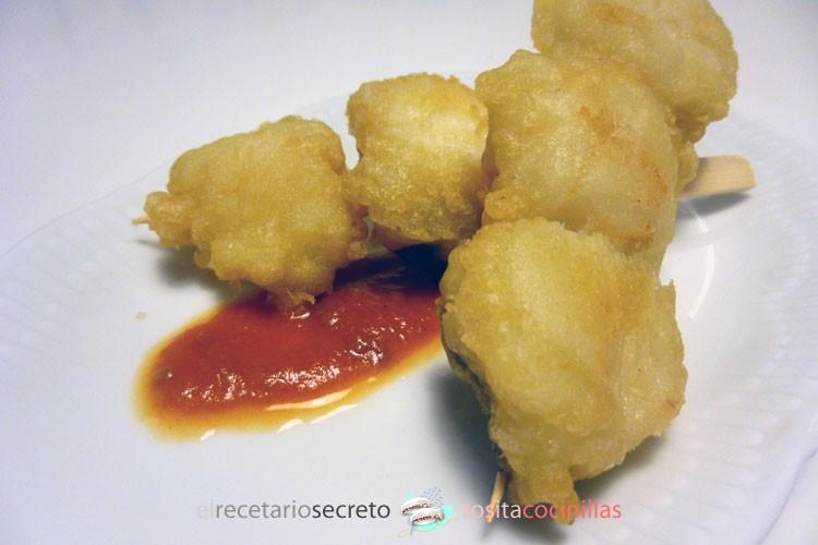brochetas de bacalao en tempura