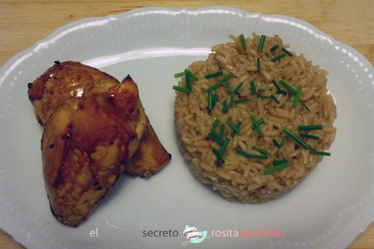 pollo glaseado con miel y salsa oriental