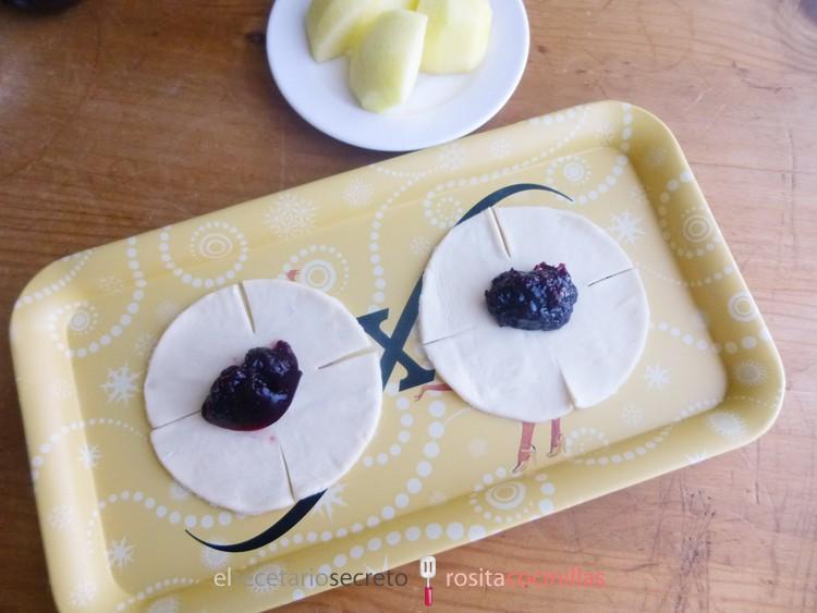 Rosas de cereza y manzana verde