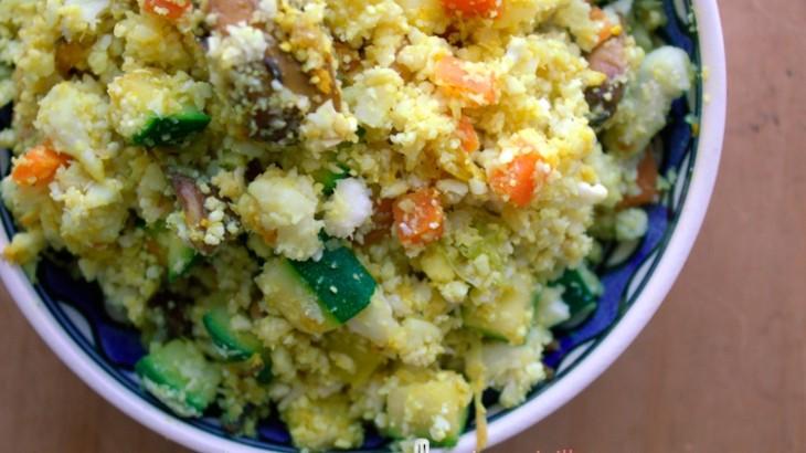 Falso cuscús de coliflor con verduras